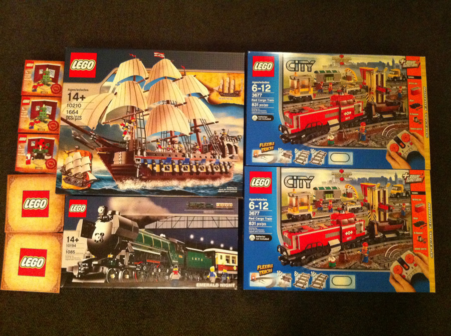 LEGO Imperial Flagship, Emerald Night, 2 of the Red Cargo Trains, Holiday Sets #1 and #2, plus two pick-a-brick boxes