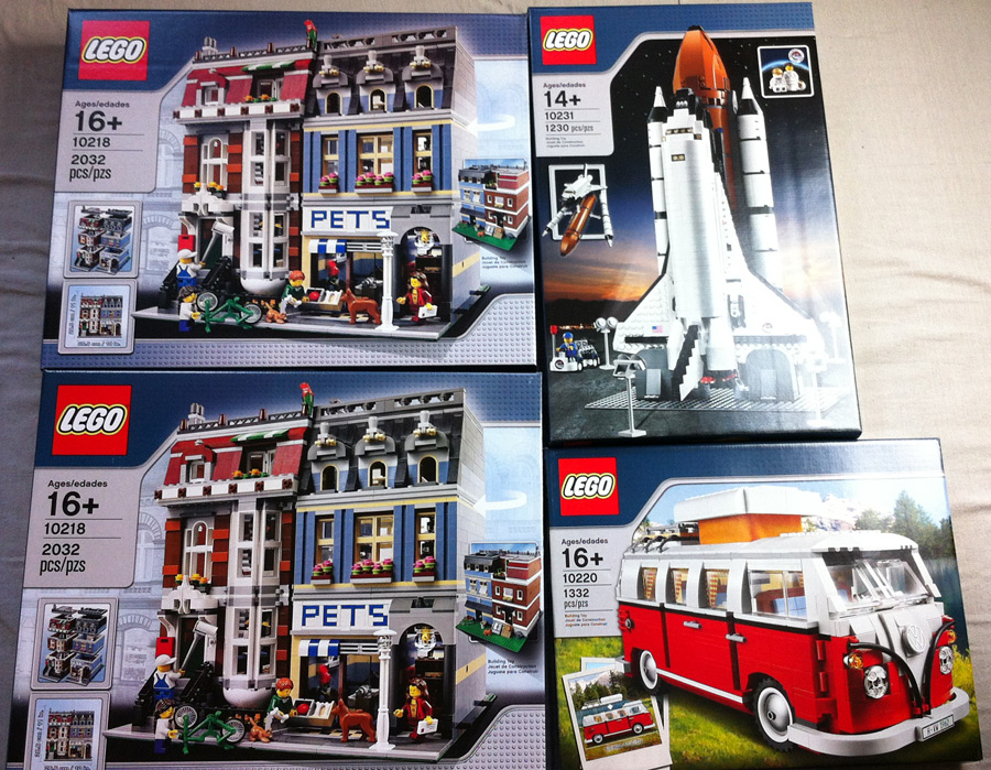 LEGO Pet Shop, Volkswagen T1 Camper Van, and Shuttle Expedition